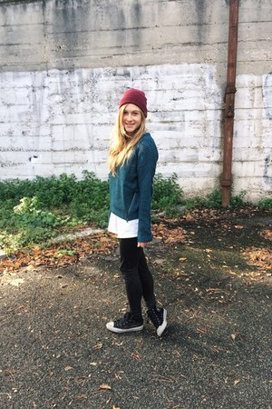 teal Pimkie sweater - black Converse sneakers