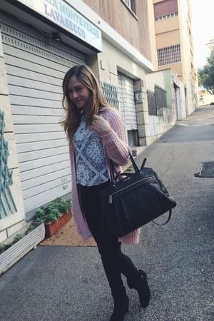 black Pimkie jeans - black bag - sky blue blouse - pink Primark cardigan