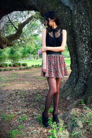 Forever 21 top - OASAP tights - Forever 21 skirt - heels