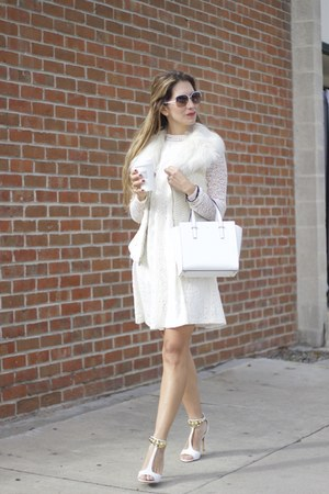 white faux-fur Guess vest - white lace Anthropologie dress