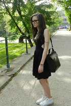 white Zara shoes - black asos dress - black Zara bag - dark gray H&amp;M bracelet