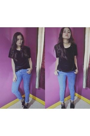 black H&M top - navy Forever 21 pants - black Rusty Lopez heels
