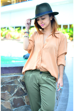 dark green fedora Forever 21 hat - army green vintage top