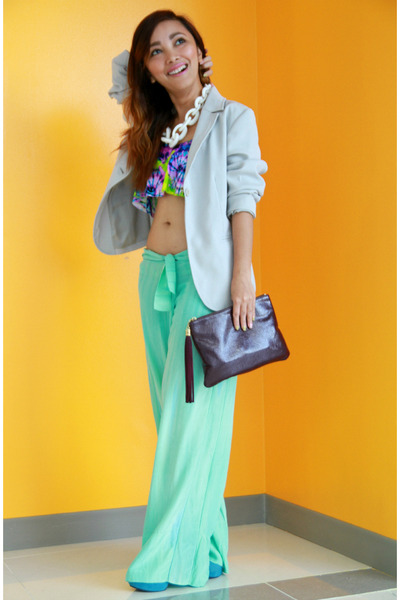 aquamarine flowy Fendi pants - sky blue MSE shoes - white chunky RAF necklace