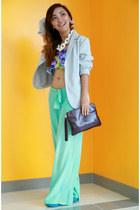 aquamarine flowy Fendi pants - sky blue MSE shoes - white chunky RAF necklace