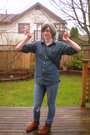 Blue-forever-21-jeans-green-vintage-old-navy-shirt-brown-minnetonka-black-