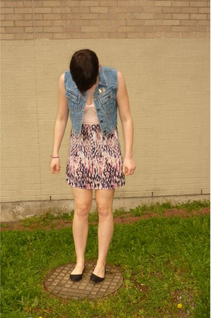 pink Silence & Noise dress - blue Value Village vest - black Aldo - silver vinta