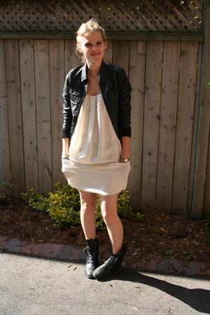 H&M jacket - graham and spencer dress - vintage boots - bracelet