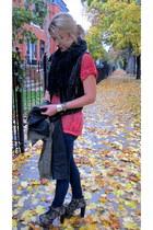black leather Nordstrom vest - navy skinny J Brand jeans