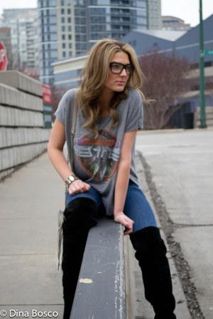 over the knee Steve Madden boots - skinny Forever 21 jeans - van halen Chaser LA