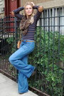 Army-green-lace-up-steve-madden-boots-blue-flare-genetic-denim-jeans