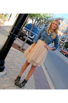 beige tulle Plastic Island skirt - black tapestry lita Jeffrey Campbell boots