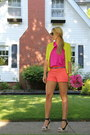 Orange-side-zip-ann-taylor-shorts-chartreuse-summer-ann-taylor-cardigan
