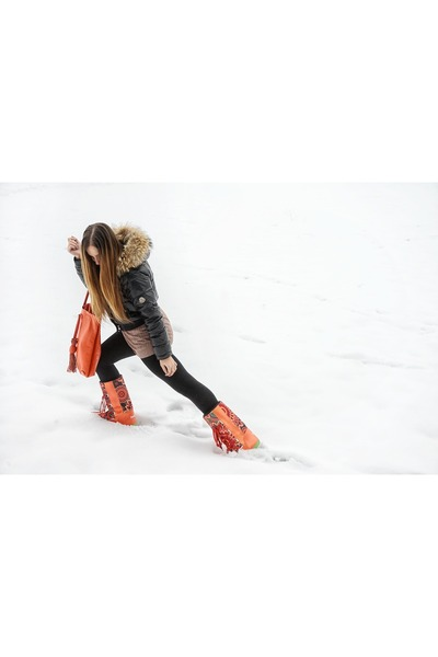 carrot orange desigual boots - black Moncler coat - carrot orange gazel bag