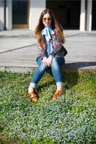 burnt orange Fratelli Rossetti shoes - turquoise blue LeRock jeans