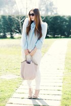light pink Laura bag - aquamarine carolinaemme shirt - sky blue H&M pants