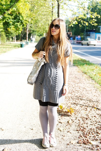 silver H&M dress - pink Converse shoes - silver Burberry bag