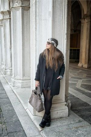 black ASH boots - black versace coat - light brown severe gusts italy bag