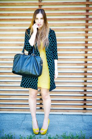 mustard gazel dress - teal CaterinaMi coat