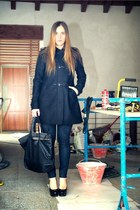 black fay coat - navy LeRock jeans - black gazel bag