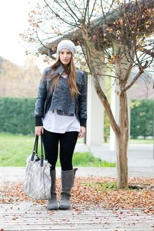 silver Ugg boots - heather gray Burberry bag - silver gazel cardigan