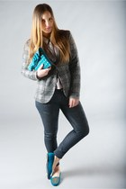 blue LeRock jeans - heather gray Masons jacket - teal castaner flats