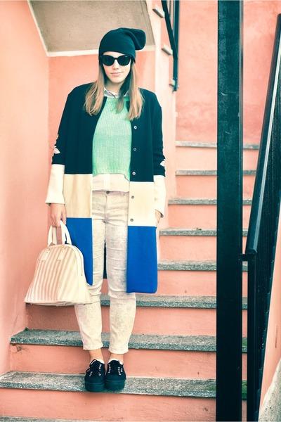 black H&M hat - black Superga shoes - green Zara sweater - salmon H&M pants