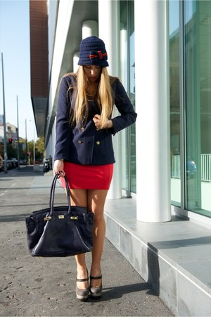 blue gazel hat - hot pink H&amp;M dress - blue H&amp;M jacket