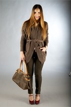brown Zanone cardigan - dark gray Louis Vuitton bag