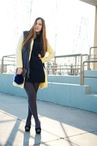 light yellow Zara coat - blue H&M dress - blue gazel bag