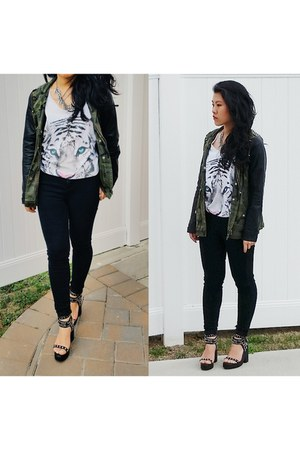 white Forever 21 top - BDG jeans - Forever 21 jacket - romwe necklace