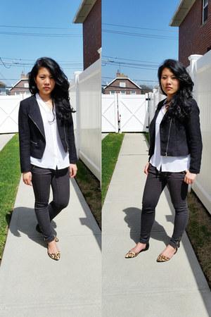 black tweed H&M blazer - white Express shirt - H&M pants