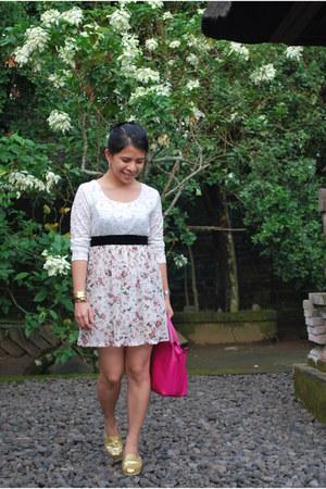 glittered TOMS shoes - China bought dress - longchamp bag - H&M belt