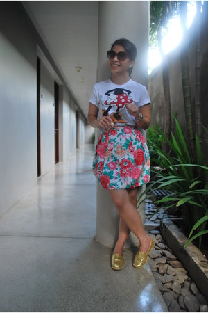TOMS shoes - Charles & Keith sunglasses - floral Zara skirt - HK Disneyland t-sh