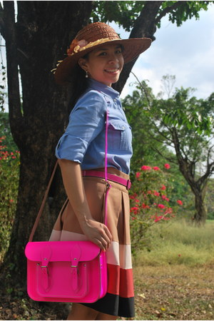 Promod hat - cambridge satchel bag - Zara skirt - Mango top - Accessorize belt