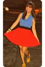 Blue-sleeveless-forever-21-top-red-forever-21-skirt-mustard-pill-flats