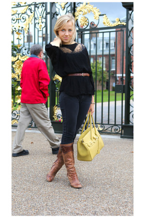 yellow bag - dark brown Faith boots - black Topshop jeans - vintage belt