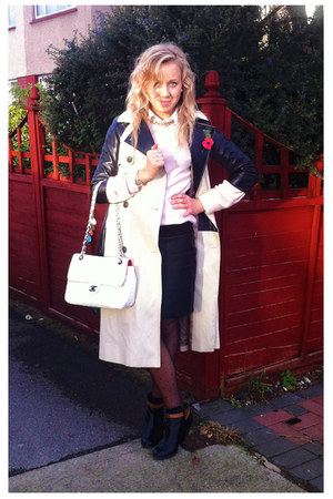 Chanel bag - Topshop coat - light pink Reiss jumper - black Reiss skirt