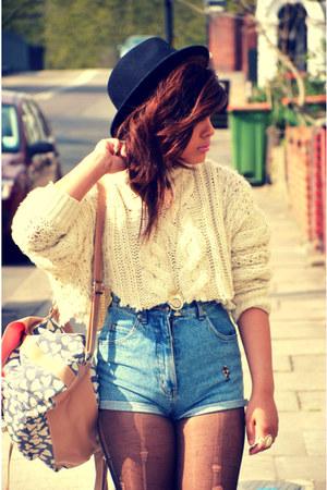 primark DIY jumper - Forever 21 hat - Primark bag - vintage shorts