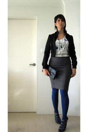Diesel top - blue H&M tights - black matt&nat purse - gray Barkins shoes - gray