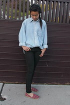 TOMS shoes - Forever 21 jeans - chambray J-Crew shirt