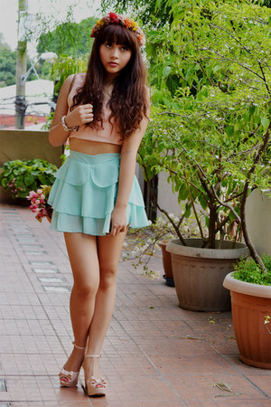 mint sheer skirt - flower garland DIY accessories - peach cropped top - wedges