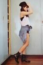 Navy-topshop-shorts-black-beanie-oxygen-hat-silver-topshop-top
