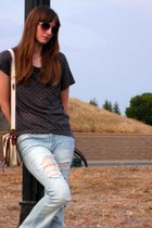 distressed Forever 21 jeans - polka dot Forever 21 shirt - canvas H&M bag