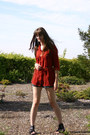 Gray-plaid-forever-21-shorts-brick-red-forever-21-blouse