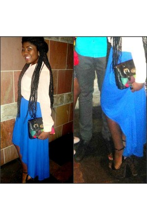 skirt - shoes - shirt - bag - earrings
