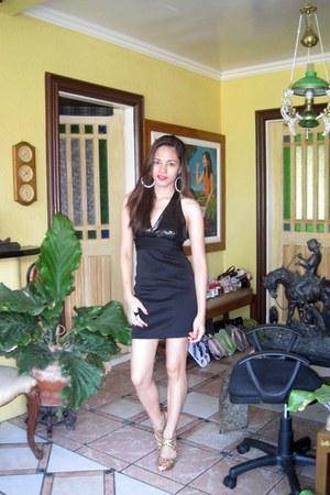 black halter Forever21 dress - lady gaga Forever21 ring - leopard print random b