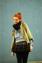 dark gray AMERICAN VINTAGE scarf - TK Maxx skirt - heather gray cckt blouse - ol