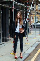 leather vintage jacket - red snakeskin Topshop shoes - diy H&M jeans