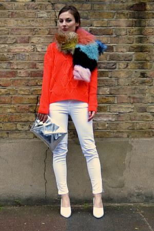 white white Mango jeans - bubble gum goat fur River Island scarf